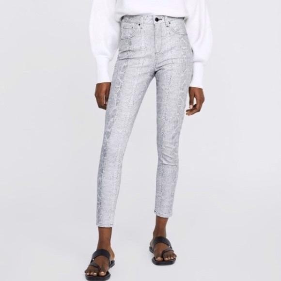 Zara Grey Snakeskin Print Skinny Jeans 6
